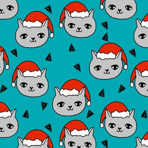 christmas cat // teal christmas cat cute girls sweet cat fabric, christmas fabric, christmas, teal, fabric, andrea lauren