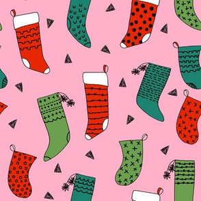 stocking // christmas stockings, christmas fabric, christmas design, pink, christmas, pink christmas, cute, knitted socks, andrea lauren fabric