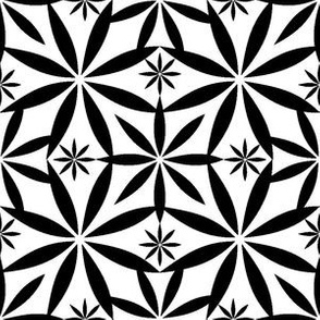 Flowers Pattern Repeat BW
