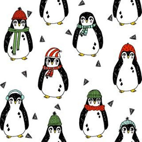 penguin holidays // penguin cute baby christmas fabric cute christmas design xmas holiday red and green holiday andrea lauren fabric
