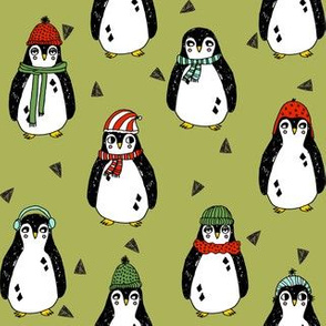 penguin // penguins pingu xmas holiday christmas fabric cute winter penguins