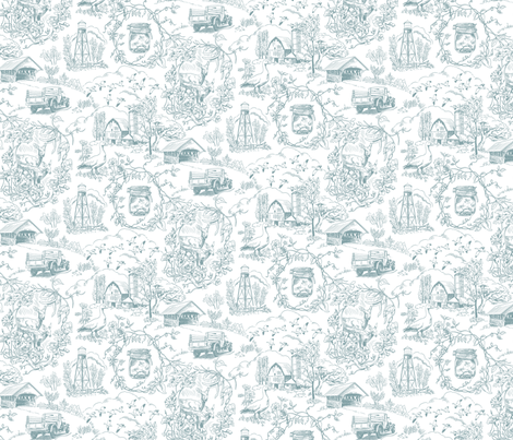 Country Living Toile Jamestown Blue fabric by vinpauld on Spoonflower - custom fabric