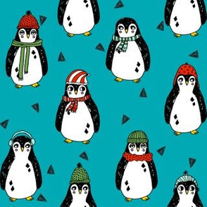 christmas penguin // teal turquoise penguins pingu teal red and green penguins winter red and green xmas