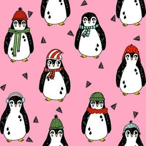 christmas penguin // pink penguins pingu winter pink cute red and green christmas fabric penguins