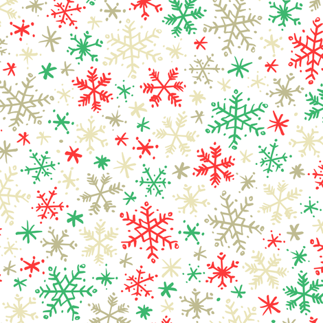Snowfall (Red and Green) fabric by robyriker on Spoonflower - custom fabric