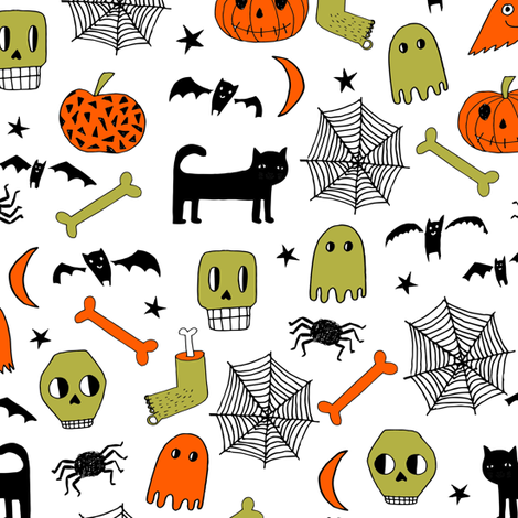 halloween // halloween fabric orange and black halloween scary spooky pumpkin bat spider ghost hand-drawn andrea lauren fabric fabric by andrea_lauren on Spoonflower - custom fabric