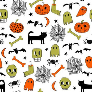 halloween // halloween fabric orange and black halloween scary spooky pumpkin bat spider ghost hand-drawn andrea lauren fabric