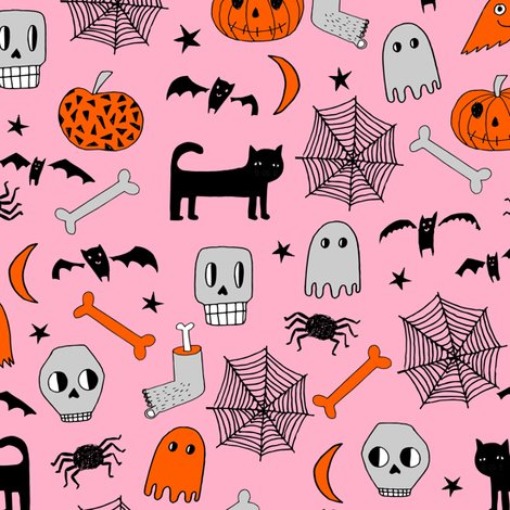 R1 Halloween 4 Shop Preview Pink And Orange Fabric Hand Drawn
