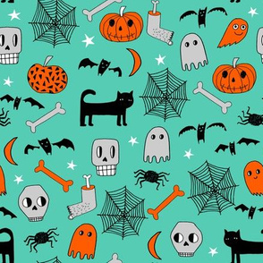 halloween // spider web cat spooky cary kids hand-drawn illustration andrea lauren
