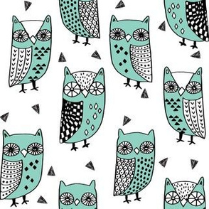 owl // owls birds mint autumn kids owl fabric owl design by andrea lauren