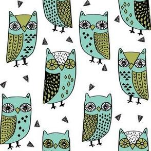 owl // owls mint and green bird bird fabric bird illustration owl fabrics andrea lauren