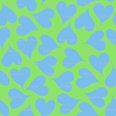 Sky blue love hearts on lime