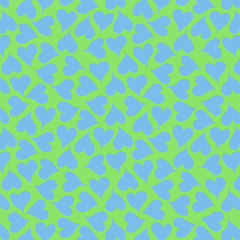 Sky blue love hearts on lime fabric by greennote on Spoonflower - custom fabric