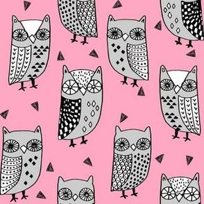 owl // owls fabric owl design owl pink and grey owls illustration andrea lauren andrea lauren fabric