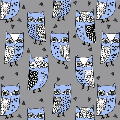 owls // owl owl fabric owls fabric grey and blue andrea lauren illustration andrea lauren fabric fabric by andrea_lauren on Spoonflower - custom fabric