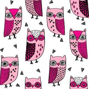 owl // owls pink bird birds handdrawn fabric illustration andrea lauren fabric