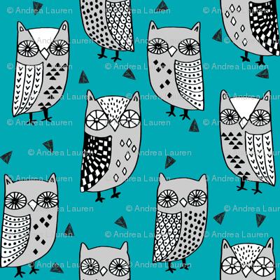 owls // owl turquoise teal and grey owl fabric owl birds bird design fabric illustration andrea lauren fabric andrea lauren design