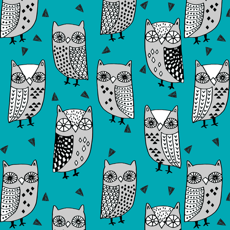 owls // owl turquoise teal and grey owl fabric owl birds bird design fabric illustration andrea lauren fabric andrea lauren design fabric by andrea_lauren on Spoonflower - custom fabric