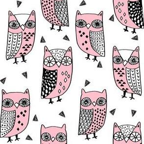 owls // pink owl bird fabric baby fabric owl nursery sweet pink hand-drawn owl illustration andrea lauren fabric andrea lauren design