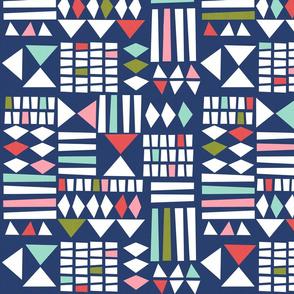 Block Print Geometric - Navy/multi