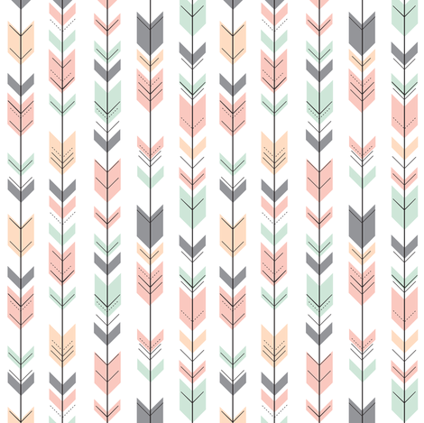 Fletching Arrows //Extra Small Scale // Pink,Grey,Mint,Peach fabric by littlearrowdesign on Spoonflower - custom fabric