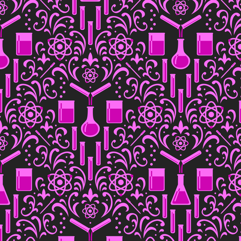 Mad Science Damask (Dark Pink) fabric by robyriker on Spoonflower - custom fabric