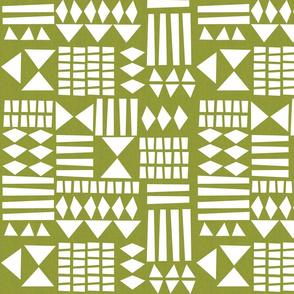 Blok Print Geometric - Olive
