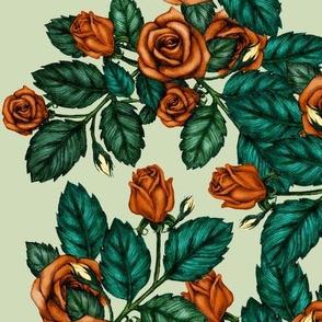 Orange Autumn Roses on Soft Green
