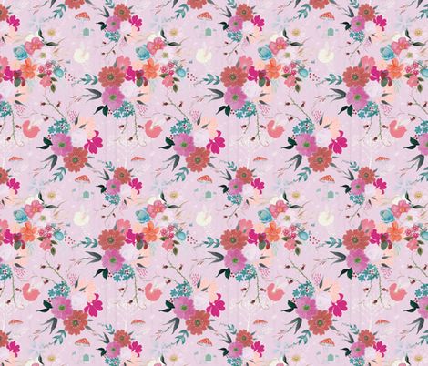 Along the Hedgerow fabric by michellegracedesign on Spoonflower - custom fabric