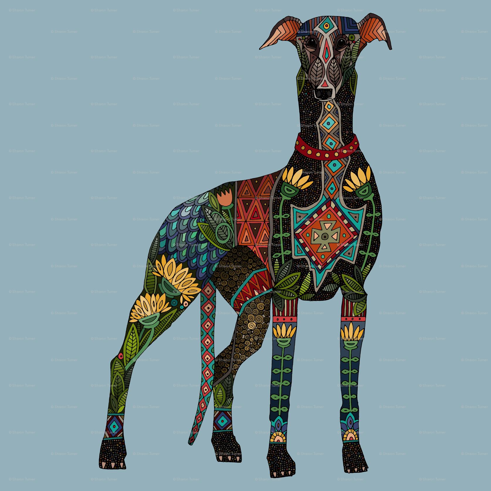 greyhound azure blue swatch fabric - scrummy - Spoonflower