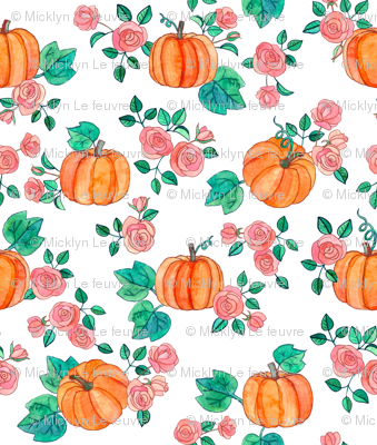 Pumpkins and Roses in watercolor on white