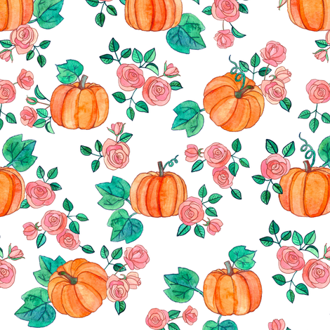 Pumpkins and Roses in watercolor on white fabric by micklyn on Spoonflower - custom fabric