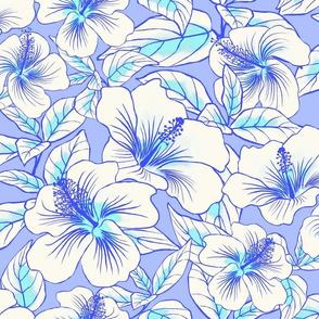 Hibiscus Batik White on Periwinkle 250