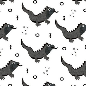 Little fantasy dragon and lizard illustration cool design for kids black and white