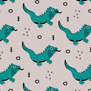 Little fantasy dragon and lizard illustration cool design for kids blue beige