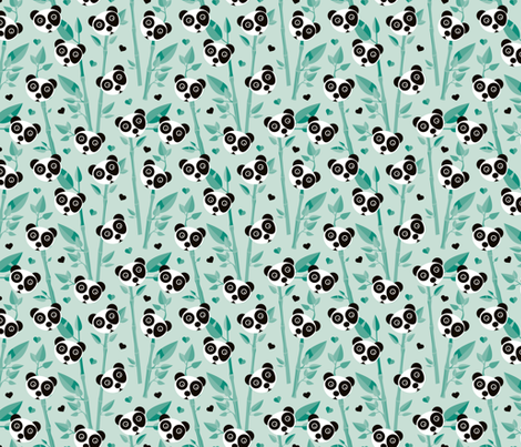 Sweet baby bamboo and panda forest asian animals mint black and white fabric by littlesmilemakers on Spoonflower - custom fabric