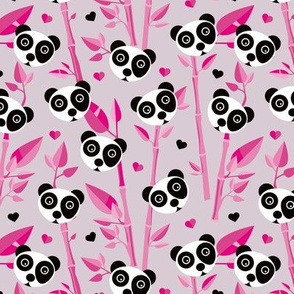 Sweet baby bamboo and panda forest asian animals pink black and white