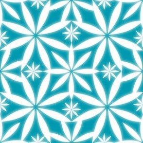 Flowers Glow Pattern Aqua/Sky Blue