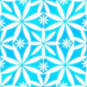 Flowers Glow Pattern Aqua SkyBlue2