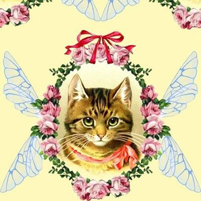 cats Victorian bows ribbons roses flowers fairy insect wings wreaths garlands leaf leaves tabby medallions shabby chic romantic kittens fairies