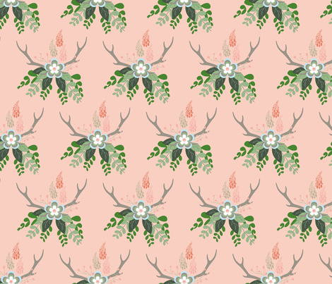 Rustic Bouquet on Peach_Miss Chiff Designs fabric by misschiffdesigns on Spoonflower - custom fabric