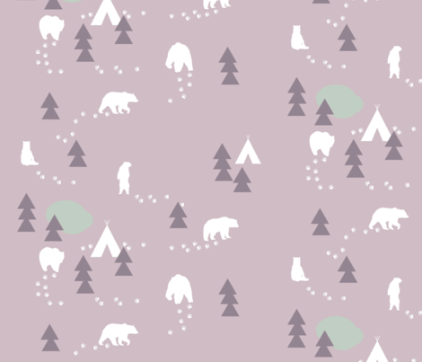 Bear Trail // lavender and lilac fabric by buckwoodsdesignco on Spoonflower - custom fabric