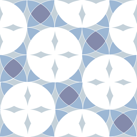 Interlocking Circle Wedges in Grayed Blues fabric by eclectic_house on Spoonflower - custom fabric