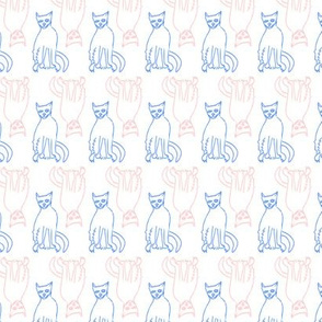 Cats in Blue and Peach