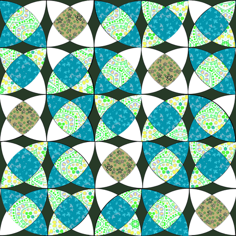 Interlocking Circle Wedge Cheater in Teal and Green fabric by eclectic_house on Spoonflower - custom fabric