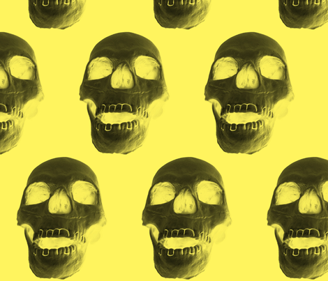 Skull on Yellow fabric by fedelm on Spoonflower - custom fabric