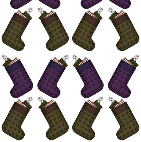 Stockings with presents fabric by flutterbi on Spoonflower - custom fabric