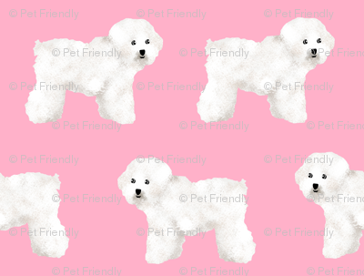 Bichon Frise Pink Dog Fabric Dog Breed Fabrics Bichon