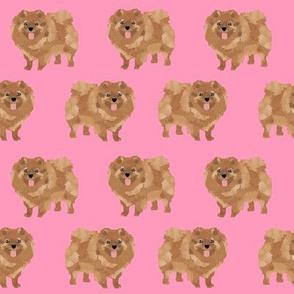 pomeranian pink pom dog cute pom fabric dog girls sweet pomeranian dog fabric