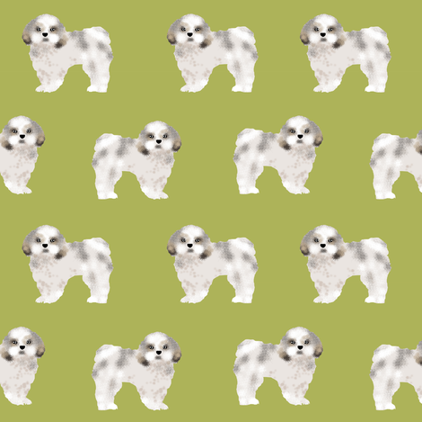 shih tzu fabric lime cute dog fabric toy breed dog sweet shih tzu  fabric by petfriendly on Spoonflower - custom fabric